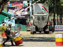 Army personnel in action inside the Army Brigade camp during a terror attack in Uri, Jammu and Kashmir.