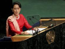 Myanmar Foreign Minister Aung San Suu Kyi speaks during the 71st session of the United Nations General Assembly. Photo:AP|PTI