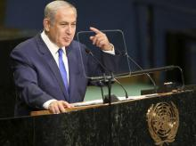 Israel Prime Minister Benjamin Netanyahu speaks during the 71st session of the United Nations General Assembly at UN Headquarters.