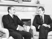 The Shah of Iran, Mohammad Reza Shah Pahlavi (left), with then US President Richard Nixon