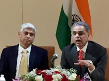 Ministry of External Affarirs spokesperson Vikas Swarup and India's ambassador to the UN Syed Akbaruddin address a press conference at the Indian Mission in United Nations. Photo: PTI