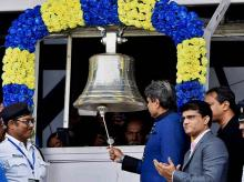File photo: Former Indian Cricketer Kapil Dev rings the bell as CAB President Sourav Ganguly looks on to start the first day match of 2nd Test match between India and New Zealand at Eden Gardens in Kolkata.