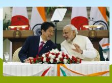 Japan's Prime Minister Shinzo Abe (L) and his Indian counterpart Narendra Modi shares a moment during a signing of agreement at Hyderabad House in New Delhi. (File Photo/Reuters)