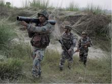 Army soldiers patrolling near Line of Control