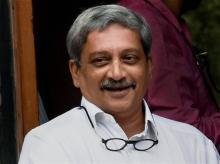 Defence Minister Manohar Parrikar after a Cabinet meeting at South Block in New Delhi. Photo: PTI