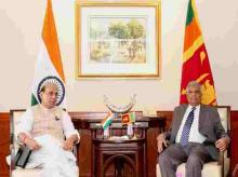 Union Home Minister, @rajnathsingh calls on PM of the Democratic Socialist Republic of Sri Lanka, Mr. Ranil Wickremesinghe, in ND
