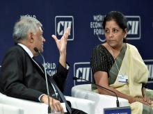 Sri Lankan Prime Minister Ranil Wickremesinghe  with Commerce and Industry Minister Nirmala Sitharaman  during the opening day of  India Economic Summit in New Delhi. Photo: PTI
