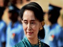 Myanmar's State Counselor and Foreign Minister Aung San Suu Kyi during the ceremonial reception in her honour at Rashtrapati Bhavan in New Delhi.Photo:PTI