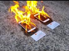Representative image of an Iphone and Samsung Note into flames  YouTube