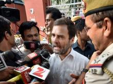 Congress Vice President Rahul Gandhi talks to the media outside RML Hospital after he was not allowed to enter the hospital to meet ex-serviceman Subedar Ram Kishan Grewal's family in New Delhi