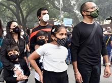A group of citizens  protest against air pollution at Jantar Mantar in New Delhi. (Photo: PTI)