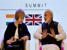 Prime Minister Narendra Modi with his UK counterpart Theresa May at the inauguration of India- UK Tech Summit in New Delhi on Monday. The two nations announced a sub-fund under the National Investment and Infrastructure Fund to raise £500 million to