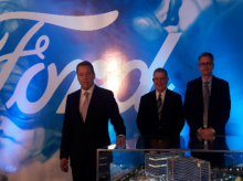 Ford Motor Company's Executive Chairman Bill Ford standing next to a global tech centre prototype in Chennai