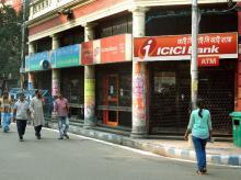 A closed ICICI Bank branch in Kolkata on account of demonetisation (Pic: Subrata Majumder)