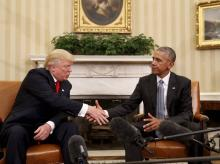 President Barack Obama shakes hands with President-designate Donald Trump in the Oval Office of the White House in Washington.