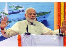 PM Narendra Modi addressing the gathering during foundation stone laying ceremony of Greenfield Airport in Mopa, Goa