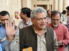 CPI(M) leader Sitaram Yechuri come  out after  Opposition Party leaders meeting to discuss the strategy for the winter session of Parliament in New Delhi. Photo: PTI