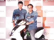 Ather Energy CEO Tarun Mehta (right) and Chief Technology Officer Swapnil Jain at the launch of the start-up's first smart scooter