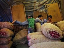People rest next to stacked sacks of onions at a wholesale vegetable market in New Delhi. (Photo: Reuters)