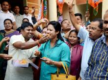 Bharatiya Janata Party (BJP) workers celebrate the win of party candidates from Lakhimpur Lok Sabha seat and Boithalangsu assembly seat, in Guwahati