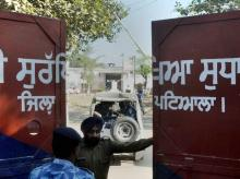 Rapid Action Force men at Nabha Central Jail, which was stormed by armed men who helped in escaping six terrorists including Khalistan Liberation Front chief Harminder Mintoo, in Nabha. Photo: PTI