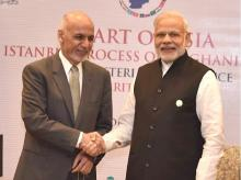 PM Narendra Mod with Afghanistan President Ashraf Ghani at the Heart of Asia Ministerial Conference in Amritsar, Punjab. Photo: PIB