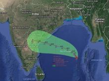 Expected path of  cyclone Vardah. It is to hit Andhra coast near Machilipatnam by December 12 noon. Photo: Twitter (@ANI_news)