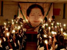 Students of Everwin School take part in a candlelight vigil to pay tribute to the late former Tamil Nadu chief minister J Jayalalithaa at their school premises in Chennai. Photo: PTI