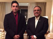 Pakistan Peoples Party chairman Bilawal Bhutto-Zardari and former president Asif Ali Zardari. Photo: Twitter (@BBhuttoZardari)