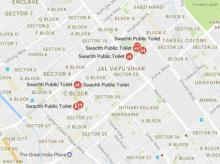 Google map for public toilets in Delhi-NCR