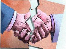 Busted merger deal, hand shake