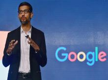 Google CEO Sundar Pichai addressing a program to announce the 'Digital Unlocked' skill program in New Delhi on Wednesday