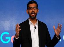 Google CEO Sundar Pichai speaks at an event to announce 'Digital Unlocked' skill program in New Delhi on Wednesday