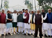 TMC leaders protest in New Delhi. Photo: PTI