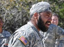 Sikh soldier of the US Army wearing a turban