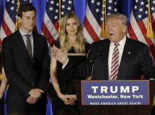 US President Donald Trump (extreme right), his daughter Ivanka Trump and his son-in-law Jared Kushner. Photo: Reuters