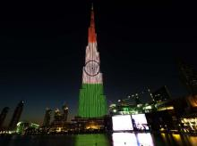 Burj Khalifa lights up in Indian Tricolour in honour of Republic Day. Photo: Twitter (@BurjKhalifa)
