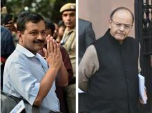 Delhi Chief Minister Arvind Kejriwal and Union Finance Minister Arun Jaitley. Photo: PTI
