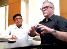 Matt Eastwood (right) and Senthil Kumar (left) discuss how technology enables creativity in the  work that J Walter Thompson does out of India.