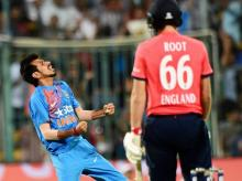File photo: India's Yuzuvendra Chahal celebrate the wicket of Joe Root during the 3rd T20 between India and England at Chinnaswamy Stadium in Bengaluru.
