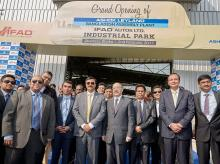 Harsh Vardhan Shringla, High Commissioner of India to Bangladesh along with Vinod K. Dasari, Chief Executive Officer and Managing Director, Ashok Leyland Ltd.,  Anuj Kathuria, President – Global Trucks, Ashok Leyland Limited and Taskeen Ahmed, Managi