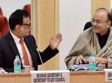 Finance Minister Arun Jaitley with Revenue Secretary Hasmukh Adhia. Photo: PTI