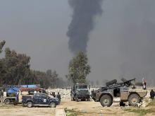 Smoke, Iraqi forces, Mosul, Iraq, Islamic State