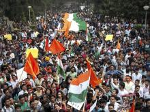 Akhil Bharatiya Vidyarthi Parishad, ABVP, activists, protest march, AISA, JNU, North Campus, Delhi University, DU, New Delhi