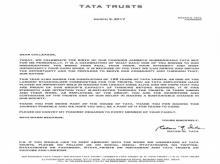 Ratan Tata letter
