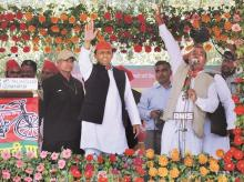 Uttar Pradesh Chief Minister Akhilesh Yadav during an election rally in Amethi