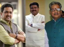 Sunil Bansal, Dharmendra Pradhan and Om Mathur