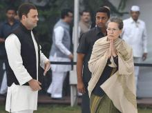 Congress President Sonia Gandhi with party Vice President Rahul. Photo: PTI