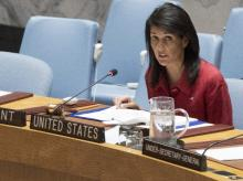 United States' Ambassador United Nations and current Security Council President Nikki Haley