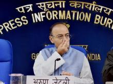 Finance Minister Arun Jaitley at a press conference after cabinet meeting in New Delhi